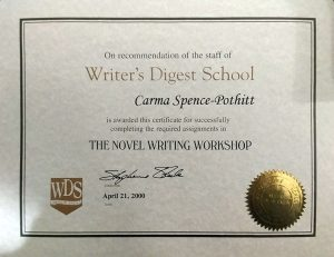 Novel Writer's Workshop Certificate of Completion