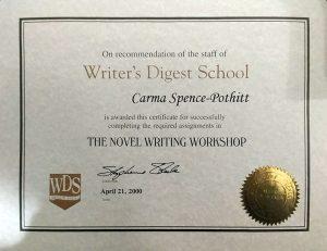 Novel Writer's Workshop Certificate of Completion